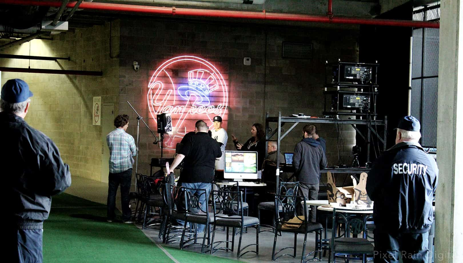 projection mapping new york yankees media day 2015 pixel rain digital tampa florida